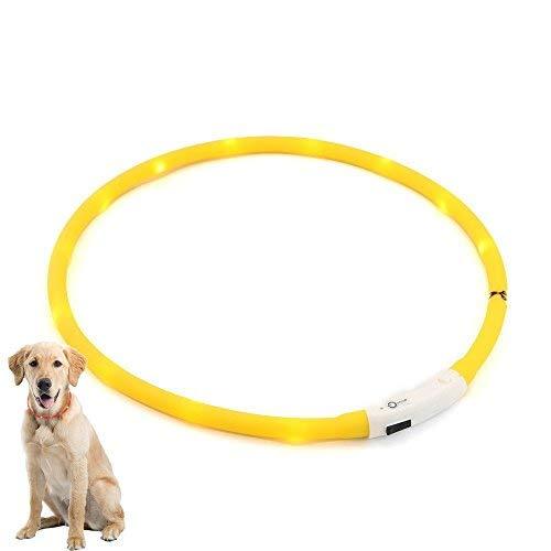 AGM Collar LED para perros. Collar recargable por USB. Collar luminoso de LED para perros amarillo