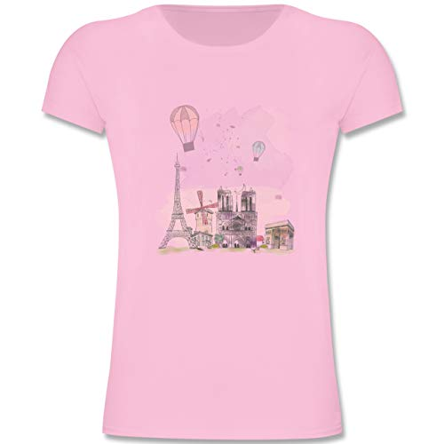 Städte & Länder Kind - Paris Wasserfarbe Watercolour - 116 (5-6 Jahre) - Rosa - F131K - Mädchen Kinder T-Shirt (Eiffelturm Zeichnung Leicht)