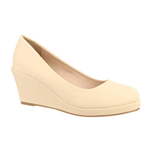 Elara Zapatos de Tacón para Mujer Cuña Plataforma Chunkyrayan B8011 Beige-38