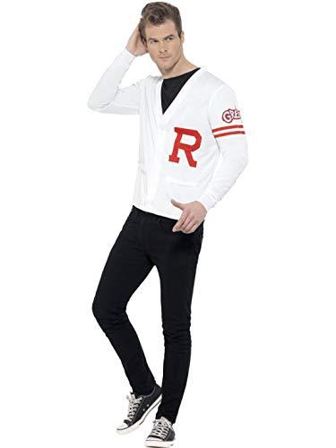 Halloweenia - Herren Männer Grease Rydell Prep Kostüm mit High School Baseball Football Pullover, perfekt für Karneval, Fasching und Fastnacht, M, Weiß
