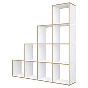 Polini Home Raumteiler Bücherregal Raumtrenner Regal grau 9 Fächer