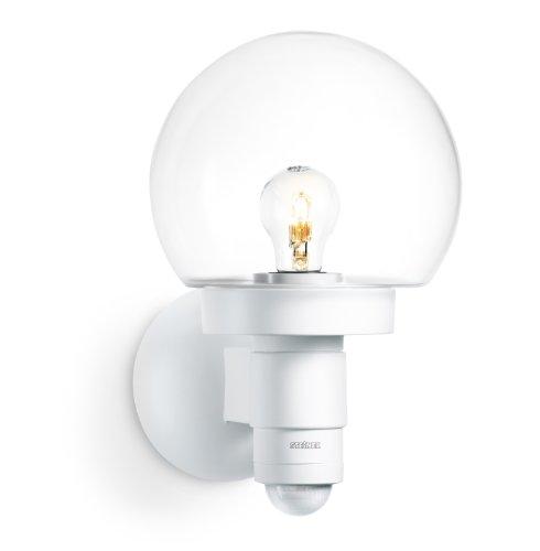Steinel L 115 S luminaire á capteur Blanc – Détecteur de mouvement 240° et une zone de détection de 8 m, d'un verre cristallin, idéal pour les façades et les entrées de maison, 657413