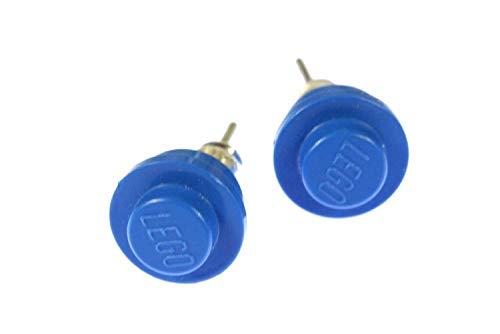 Lego Ohrstecker Miniblings Stecker Ohrringe Spiel Spiele Upcycling blau rund 6mm
