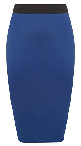 Unbranded New Ladies Women's MIDI Pencil Skirt Plain Bodycon Stretch Jersey Office Skirt Size 8-26