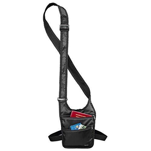 Flache Umhängetasche (Hama Sicherheitstasche (Umhängetasche mit Hüftgurt und Gürtelschlaufe, sichere Wertsachen- und Geldaufbewahrung auf Reisen, Schulter-Tasche) schwarz)