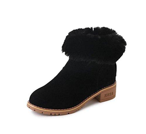 KUKI Stivali da donna, scarpe da donna, tacco basso, moda, pelle scamosciata, stivali tinta unita, peluche, stivali da neve black