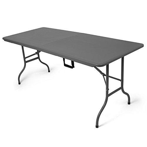 Park alley tavolo pieghevole adatto ad esterni, giardino o terrazza o balcone, 180 x 74 x 74 in plastica hdpe e acciaio con maniglia integrata, grigio