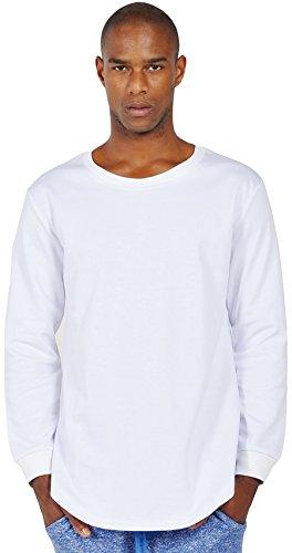 Pizoff Unisex Hip Hop urban basic Langärmliges lang geschnittener Jersey Sweat T-shirt mit abgerundeter Saum Y1195--w--L