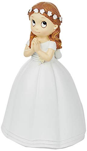 Mopec Figur Kommunion Mädchen Langes Kleid und Krone Blumen, Polyresin, weiß, 9.5x 10.5x 16.5cm