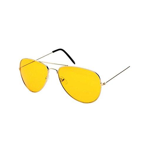 DRESS_start Nachtsicht Flieger Sonnenbrille für Männer und Frauen UV400 Gläser für Fahrer, die...