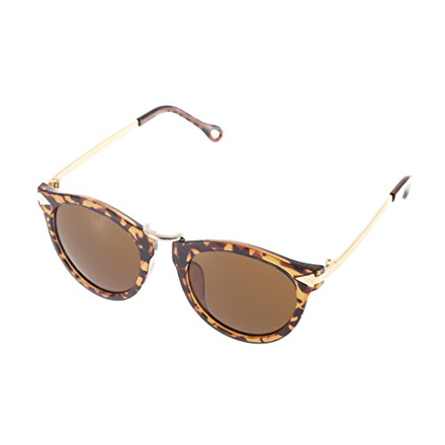 Cheriee Metal and Plastic Frame Unisex Sunglasses Men Women Eyewear Round Sunglasses In Leopard Print 1 Pack