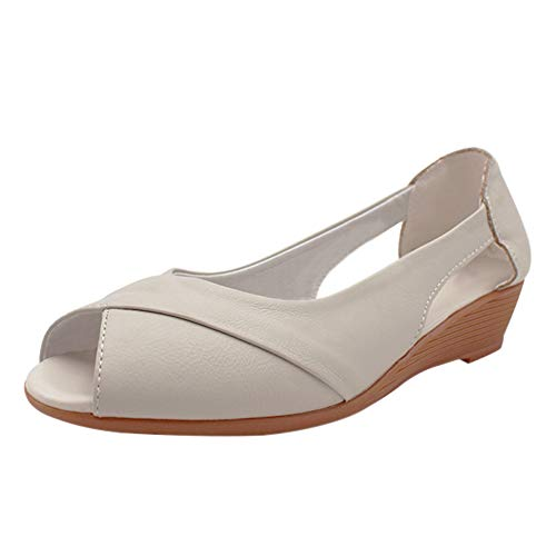 uirend Schuhe Damen Sandalen - Frau Pumps Keilabsatz Peep Toe Platform Oxfords Freizeit Bequem Weich Leder Arbeits Büro Uniform Business Berufsschuhe