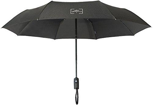 Premium Automatik Regenschirm, eleganter schwarzer Taschenschirm, windsicher & 100% wasserdicht. Der ideale Schirm für Business und Reise: geht vollautomatisch auf und zu und ist hochbelastbar