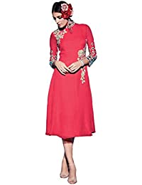 Lords Pink Geprgette Semi Stitched Embroidery With Embroidery Kurti