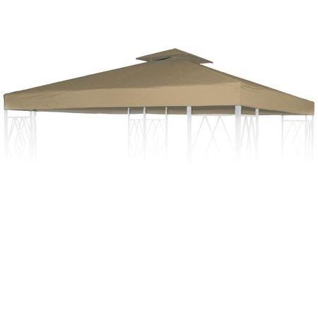 Aluminium-Pavillon Ersatzdach 3x3m Braun Partyzelt Garten Dachplane Pavillondach