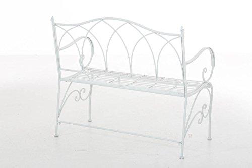 CLP Gartenbank ORKUN im Landhausstil, Eisen lackiert, 107 x 50 cm, 2er Sitzbank Weiß - 3