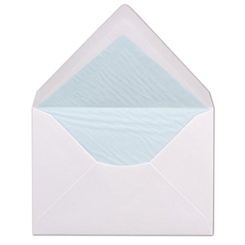 50 DIN C6 Briefumschläge Weiß gefüttert mit hellblauem Seidenpapier 11,4 x 16,2 cm 100 g/m² Nassklebung Brief-Hüllen ohne Fenster von Ihrem Glüxx-Agent