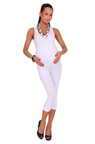 futuro fashion Umstandsleggins abgeschnitten 3/4 Länge Baumwollleggings sehr komfortabel alle Größen Weiß