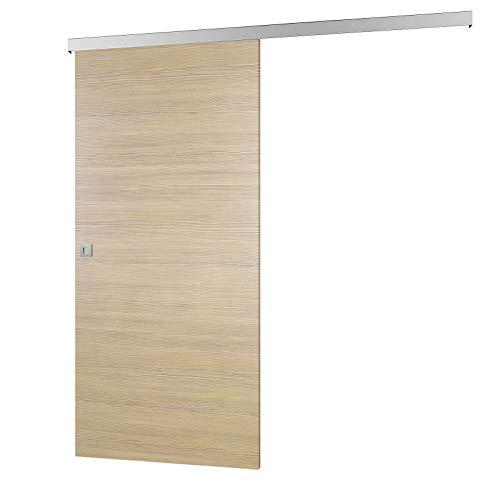 inova Holz-Schiebetür 880 x 2035 mm Pinie Alu Komplettset mit Lauf-Schiene und Quadratgriff