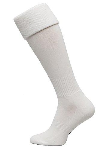 Nessi Fußballstutzen Modell G Fußball Strümpfe Stutzen 100% Atmungsaktiv viele Farben - Weiß, 27-31