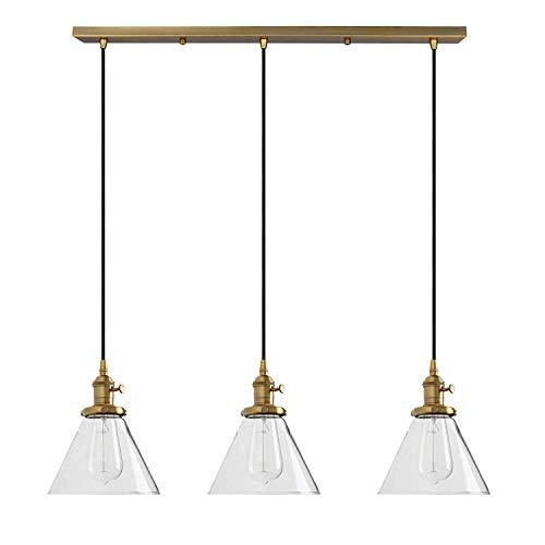 Trend jewelryIndustrielle Vintage Loft Bar Kronleuchter Kegel Klarglas Schatten drei Lichter hängende Decke Pendelleuchte Lampenfassung - Kegel-wandleuchte Licht