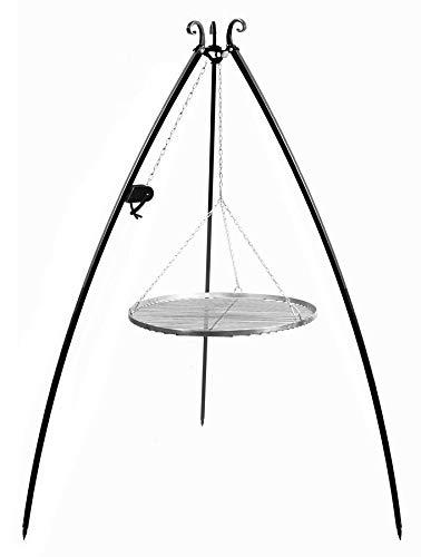 KORONO 5900105402028 Schwenkgrill mit Kurbel 200 cm Grillrost, Edelstahl, 110 x 80 x 12 cm