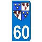 Autocollant 60 avec blason Picardie plaque immatriculation Auto (9,8 x 4,5 cm)