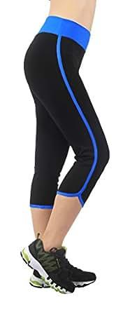 4HOW® Femme Pantacourt Corsaire Cuissard Legging de Sport 3/4 Noir&Bleu Taille S