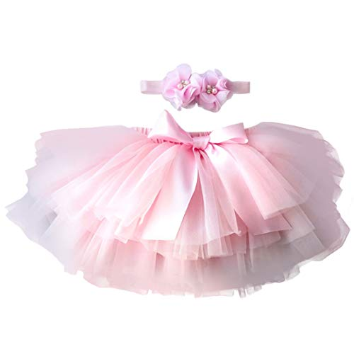 6 Kostüm 0 Monat Neugeborene - YONKINY Baby Mädchen Tutu Rock Prinzessin Tüllrock Minirock Baby Fotoprops Reifrock Ballettrock für Fotografie Geburtstag + Stirnband (Pink, Größen S für 0-6 Monate)