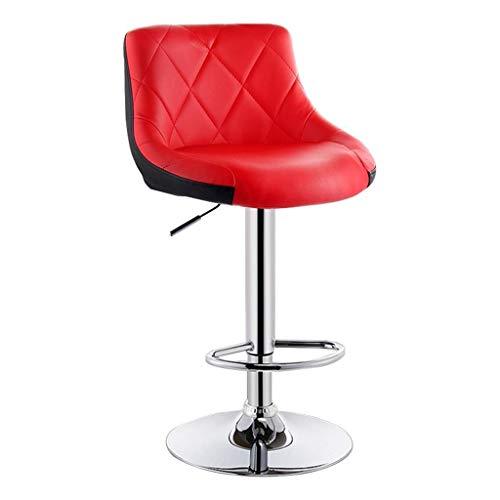JBDhao Barhocker, Drehstuhl Armlehne Zähler Moderne Frühstücksküche Stuhl Hocker Kunstleder Rot Schwarz Zwei-Farben-Sitz Verstellbar - 4 Zähler Höhe Stühle