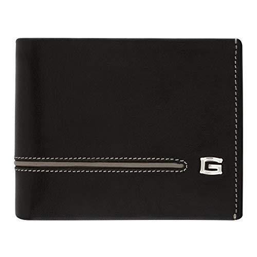 Giudi Herren Geldbörse aus echtem Leder, 9 Kartenfächer, hergestellt in Italien, tolles Geschenk für Männer - Schwarz Leder Wallet Passcase
