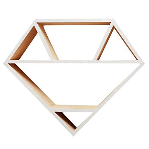 Lq mensola a muro, scaffali a parete in legno a forma di diamante naturale scaffali a muro scaffale a muro per bambini (colore : bianca)