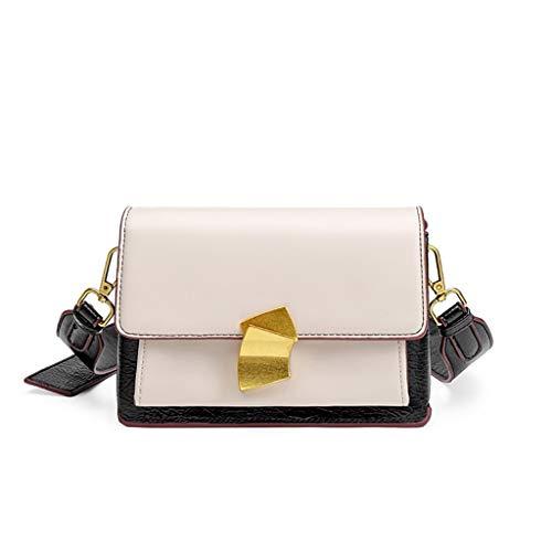 Frauen Handtasche Mode Wild Lady Crossbody Umhängetasche Retro Leder Pu College Tasche Kontrast Small Square Bag (Color : Creamy-white) -
