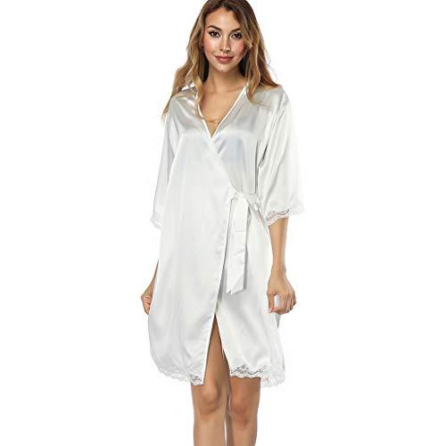 LOPILY Damen Reizwäsche Nachtwäsche Morgenmäntel Atmungsaktiver Bequem Satin Schlafanzug Nachtwäsche Kleid Nachtkleid Sleepwear Pyjama(Weiß,One Size)