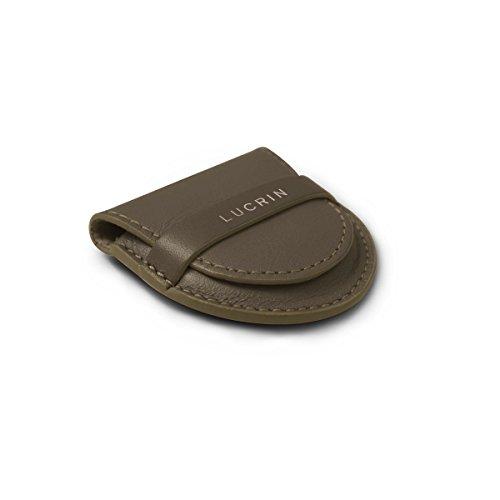Lucrin - Taschenhalter - Glattleder Dunkeltaupe
