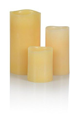 Liown - Vela de cera con led (funciona con pilas), Bienenwachs, medium