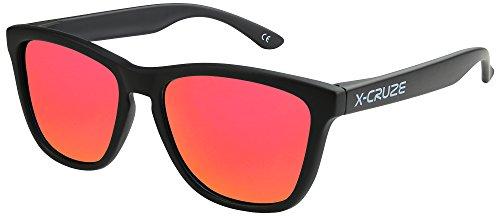 X-CRUZE® 9-009 X0 Nerd Sonnenbrillen polarisiert Style Stil Retro Vintage Retro Unisex Herren Damen Männer Frauen Brille Nerdbrille - schwarz matt LW/rot-orange verspiegelt