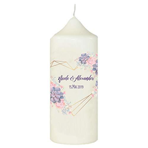 sign Kerze zur Hochzeit mit eigenem Namen und Datum, Goldenes Herz, Weiß ()
