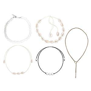 5PCS Seashell Halskette, natürliche Muschel Choker, einstellbare Größe Design, Schmuck Geschenk für Frauen und Mädchen