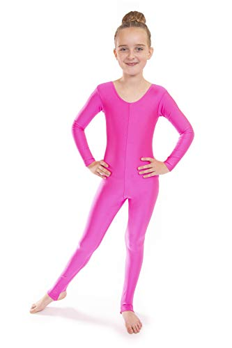 Vincenza Dancewear Deluxe Lang- und Kurzarm-Ganzkörper-Catsuits 11-13 Jahre, Grelles Pink ()