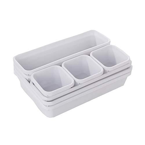 YILANS Schubladenorganisatoren-Set, Plastikbox für Cupboard oder Schublade 8-Stück für die Schlafzimmerküche Badezimmerkabinette Speicherkarte kann angeschlossen Werden Speicherplatz,White