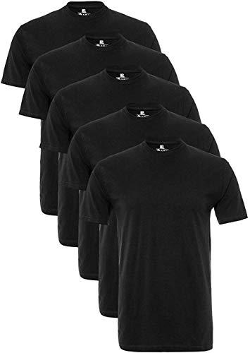 Lower East Herren T-Shirt mit Rundhalsausschnitt, 5er Pack, Schwarz(Schwarz), X-Large