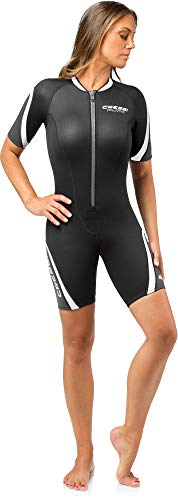 Cressi Damen Playa Lady Wetsuit 2.5mm Shorty Diving und Snorrkeling Neoprenanzug, Schwarz/Weiß, S/2