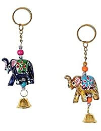 Handicraft Handmade Multicolor Elephant Key Chain For Home & Office Use,Also Use For Gifts. (10 Pieces)