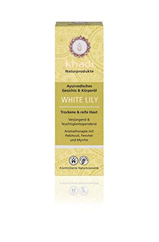 khadi White Lily Körperöl 100ml I natürliches Gesichts & Körperöl für trockene & reife Haut I wirkt verjüngend & feuchtigkeitsspendend I ayurvedisches Massageöl I 100% pflanzlich -