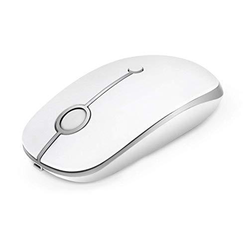 Kabellose Maus, Jelly Comb 2.4G Wiederaufladbarer Maus Schnurlos Wireless Optische Maus mit USB Nano Empfänger für PC / Tablet / Laptop und Windows / Mac / Linux (Wiederaufladbar-Weiß und Silber) -