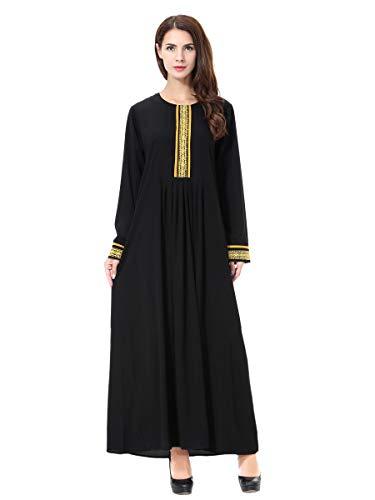 XDXART Frauen muslimischen Roben islamischen Abaya Maxi Kleid Langarm Langmantel marokkanischen Kaftan Kaftan Kleid (Gold, 2XL) (Marokkanischen Kaftan-kleider Für Frauen)