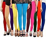 Omikka New Women\'s 160 GSM Cotton Lycra 4 way Strechable Churidar Leggings pack of 10 (Free size)