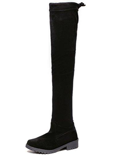 Minetom Senhoras Outono Nova Moda Sobre Botas Joelho Camurça Sapatos Baixos Elásticos Pretos Longos