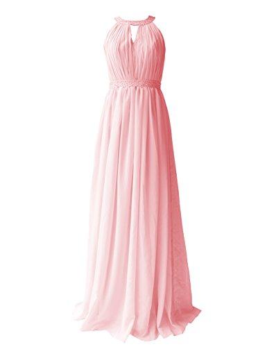 Dresstells, Robe de soirée Robe de cérémonie Robe de demoiselle d'honneur longueur ras du sol col rond sans manches Rose